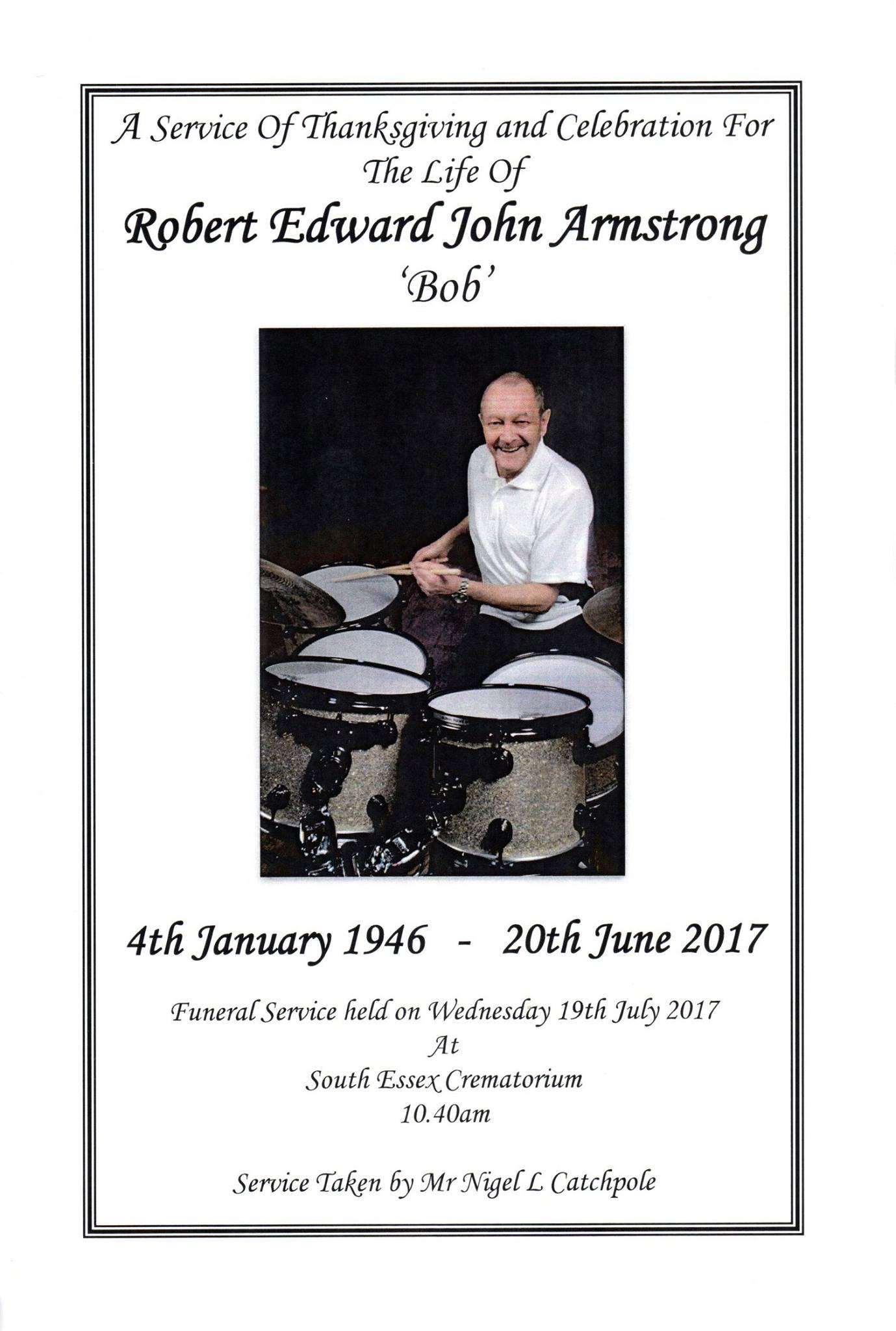 Bob Armstrong Funeral Order of Service © Darren Ashford 2017