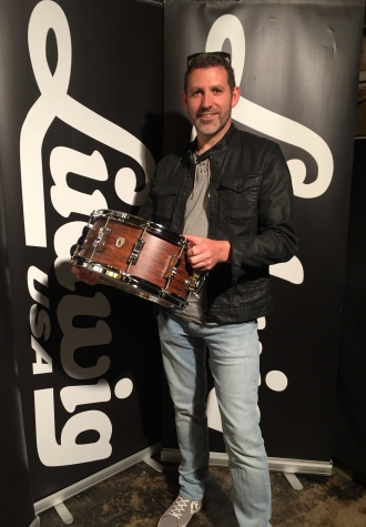 Alex Bridge collecting his new drum from Ludwig Drums UK © Active Music Distribution